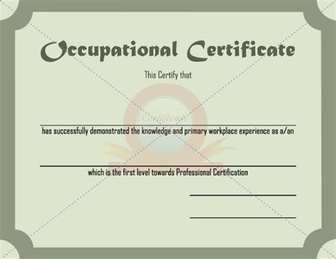 health and safety certificate template 15 best occupational certificate templates images on