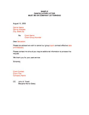 bank ac cancellation letter contract cancellation letter forms and templates