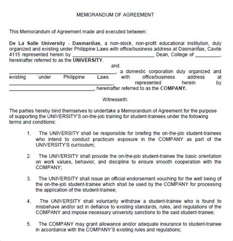 Agreement Letter Between Two Companies efficient memorandum of agreement format exle between
