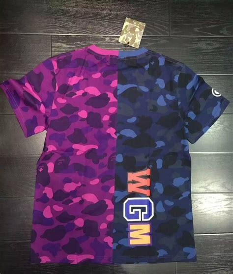 T Shirt By Bathing Ape Bape Camo Import Premium casual s bape half camo 3d shark jaw icon pattern