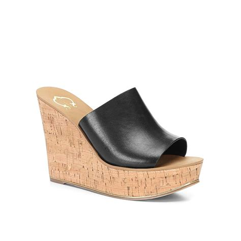 wedge slide sandals c leather cork wedge slide sandal in black lyst