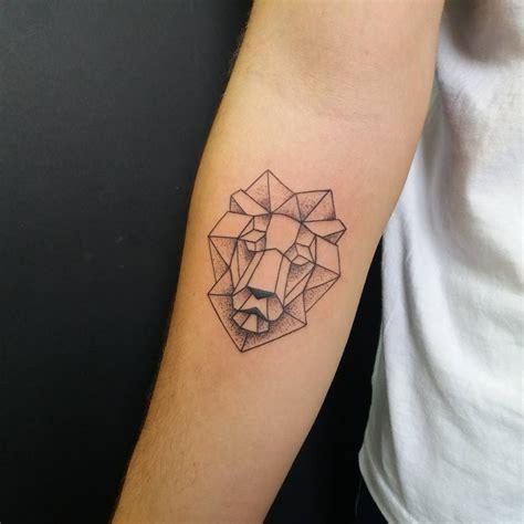 lion geometric tattoo geometric linetattoo artwork dotwork