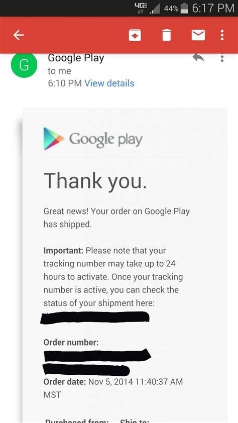 my google play order my google play order just shipped nexus6