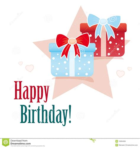 Birthday Cards And Gifts - happy birthday card with gifts stock illustration image 18284506