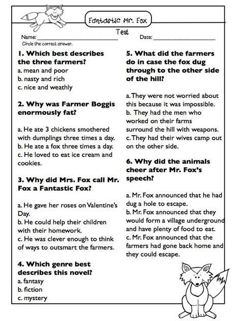 fantastic mr fox novel study literature circle sheets