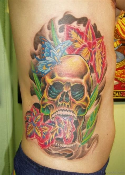 skull with flowers tattoo designs 59 fabulous skull tattoos for rib