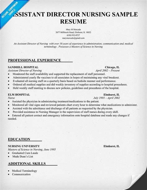 Resume For Nursing Assistant by Exle Of Assistant Director Of Nursing Resume