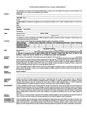 Wisconsin Realtors Association 2014 Residential Lease Fill In Form Fill Online Printable Wisconsin Rental Lease Agreement Template