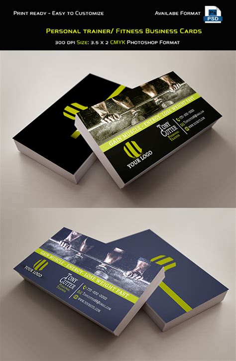 fitness business card template photoshop free personal trainer fitness business cards on behance