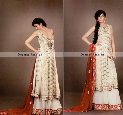 dress design in white colour white red bridal wear a line frock lehnga latest