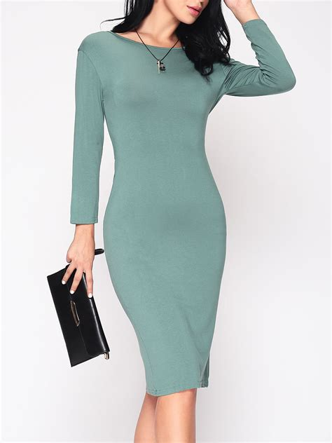 how to cut boat neck dress plain backless cut out modern boat neck bodycon dress green