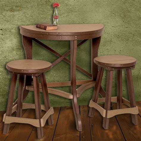 bar table set amish poly half patio pub table 3 set