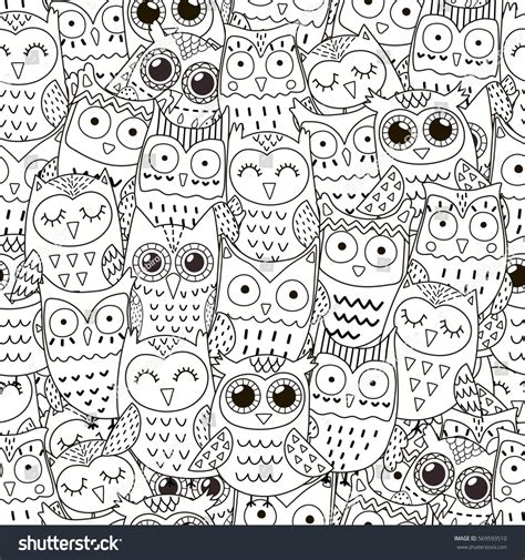 doodle pattern black and white doodle owls seamless pattern black white stock vector