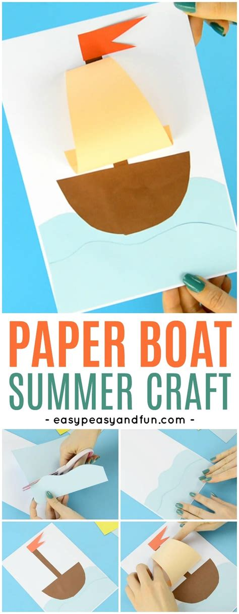 how to make a paper boat kindergarten simple paper boat craft easy peasy and fun