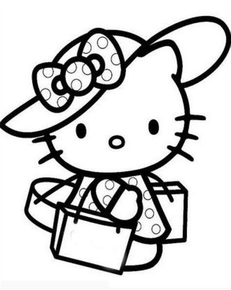 imagenes para pintar de kitty hello kitty de viaje para pintar y colorear a hellokitty