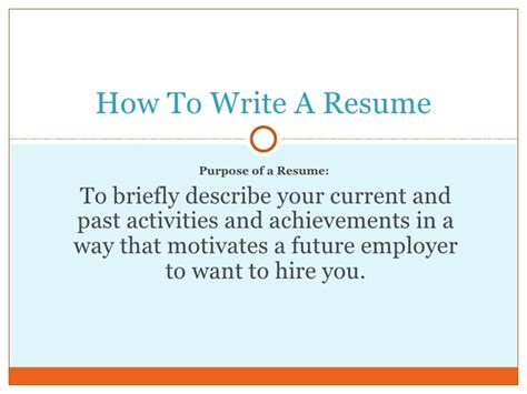 how to write an resume