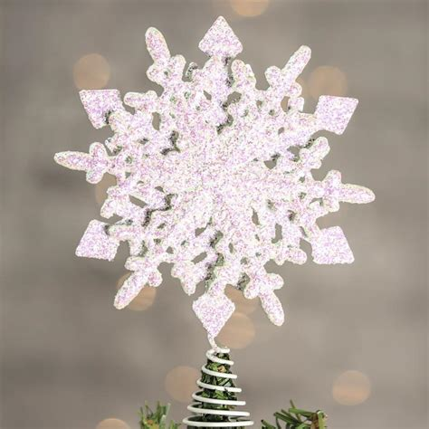 white iridescent sparkling snowflake tree topper snow