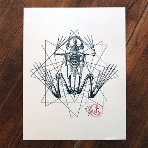 geometric tattoo prints frog skeleton on geometric drawings tattoo design