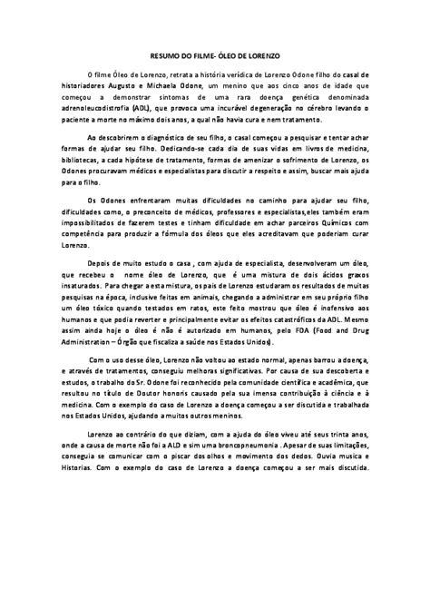 (DOC) RESUMO DO FILME-ÓLEO DE LORENZO | Talita Melo