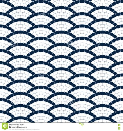 seamless mosaic pattern vector navy blue and white geometric wave stone mosaic seamless