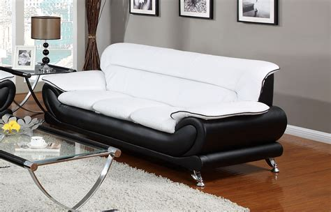 Black Leather Sofa With Chrome Legs Orin Modern Black White Bonded Leather Sofa W Chrome Legs