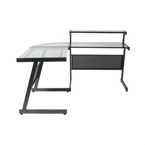 Smoked Glass Computer Desk Eurostyle L Desk In Graphite Black And Smoked Glass 27650a 27651g Kit