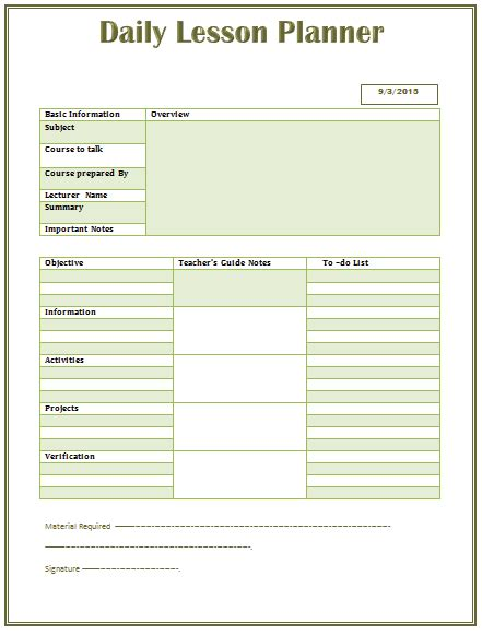Daily Lesson Plan Template For Middle And High School Middle School Lesson Plan Template