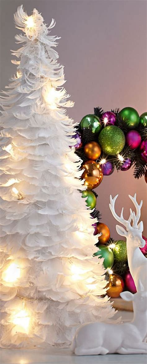 white feather tree christmas decorations pinterest