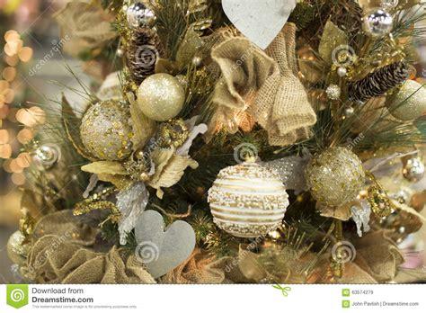 warm yellow christmas tree lights christmas tree warm yellow golden ball ornaments stock
