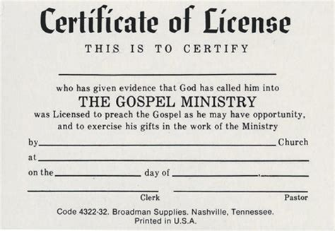 ministers license template images