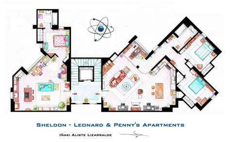 floor plans of tv homes the big bang theory sheldon leonard and penny s