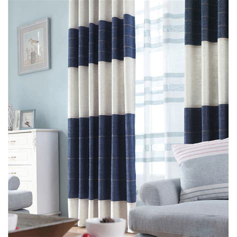 navy blue color block striped jacquard chenille modern curtains  bedroom