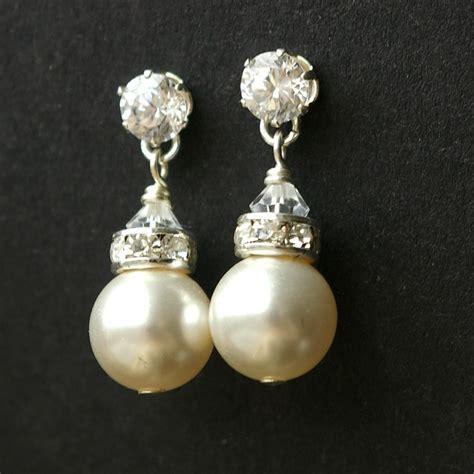 Ohrringe Hochzeit Silber by Modern Vintage Pearl Bridal Earrings Sterling Silver Wedding