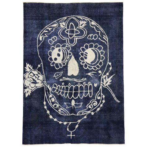 Sugar Skull Rug Vintage Persian Tabriz Rug Overdyed Blue Modern Rug With