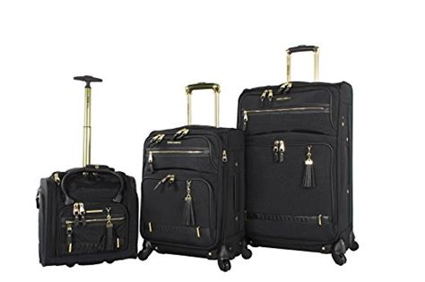 steve madden luggage 3 softside spinner suitcase set collection peek a boo black