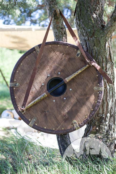 bouclier viking de taille moyenne avec exterieur en cuir