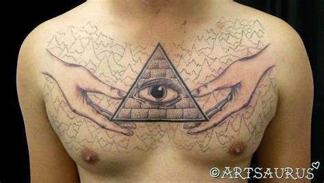 tattoo eye chest all seeing eye pyramid tattoo on chest real photo