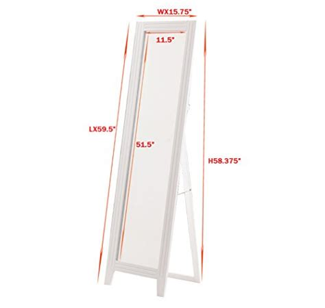 khome white finish wood frame floor standing mirror with foldable back support in the uae see