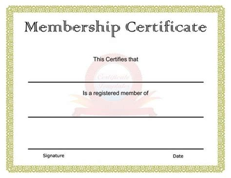 Membership Certificate Template by 82 Free Printable Certificate Template Exles In Pdf