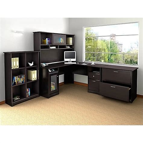 Bush Cabot L Shaped Computer Desk With Hutch In Espresso L Computer Desk With Hutch