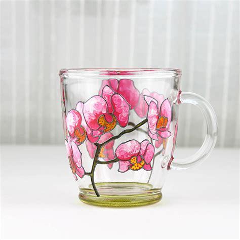 design glass mug hand painted glass mug pink orchid design glass coffee mug