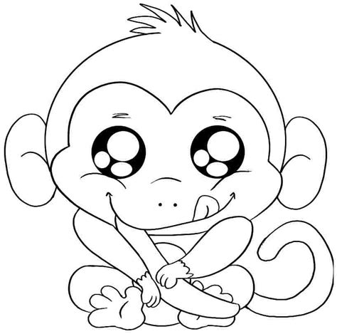 Coloring Pages Of Baby Monkeys | baby monkey coloring