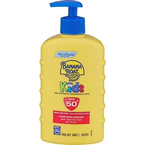 banana boat baby sunscreen banana boat kids sunscreen spf 50 400g woolworths