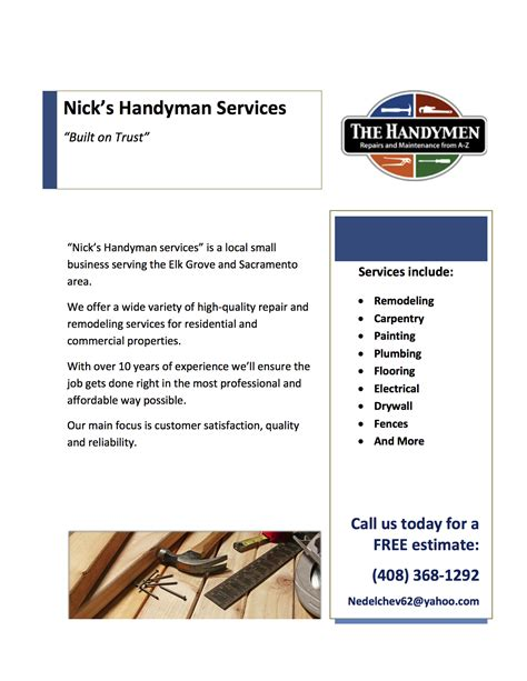 handyman templates handyman flyer template images