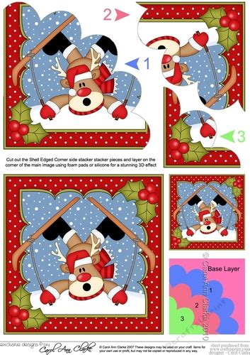 printable christmas cards one sided christmas oops rudolph goes skiiing and gets stuck shell