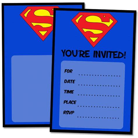 superman superpowers card template free printable superman birthday invitations printable