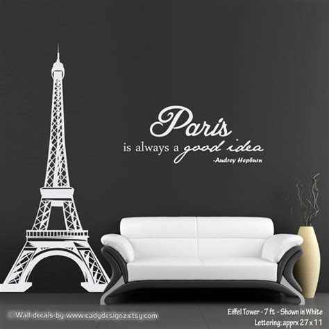 Room Decor Eiffel Tower Eiffel Tower Wall Decal With Hepburn Quote Is