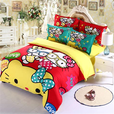 hello kitty bed sets 4pcs hello kitty bedding set queen king full size striped