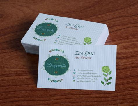 single sided business card template psd free beautiful floral business card design template mock