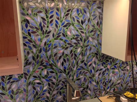 mosaic pattern on leaves climbing vine glass mosaic custom colors home
